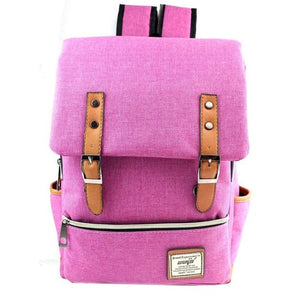 Women's Vintage Canvas Backpack - Black, Blue, Gray, Pink