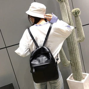 Women's Small Leather Backpacks - Black
