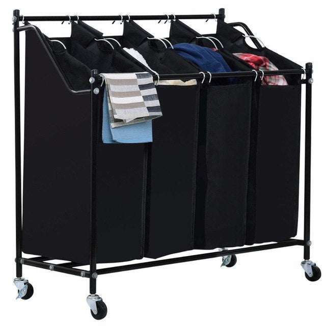4-in-1 Rolling Laundry Hamper Cart - Black
