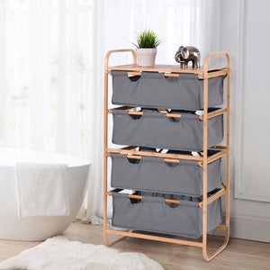 Bamboo 4 Tier Sliding Drawer Bins Dresser