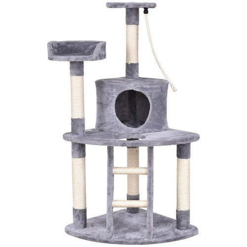 "48"" Cat/Kitten Activity Tower - Gray, Paw Print, Brown"
