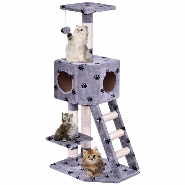 Paw Print Cat House Tower - Gray
