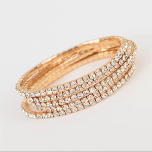Women's Gold Cubic Zirconia Stretch Tennis Bracelet (Layers)