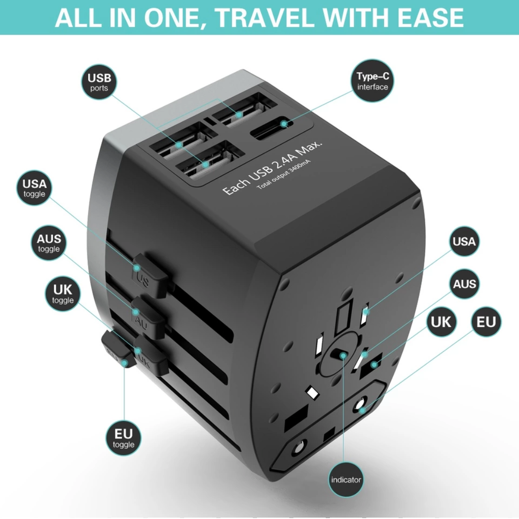 All-in-one Travel Outlet & USB Adapter