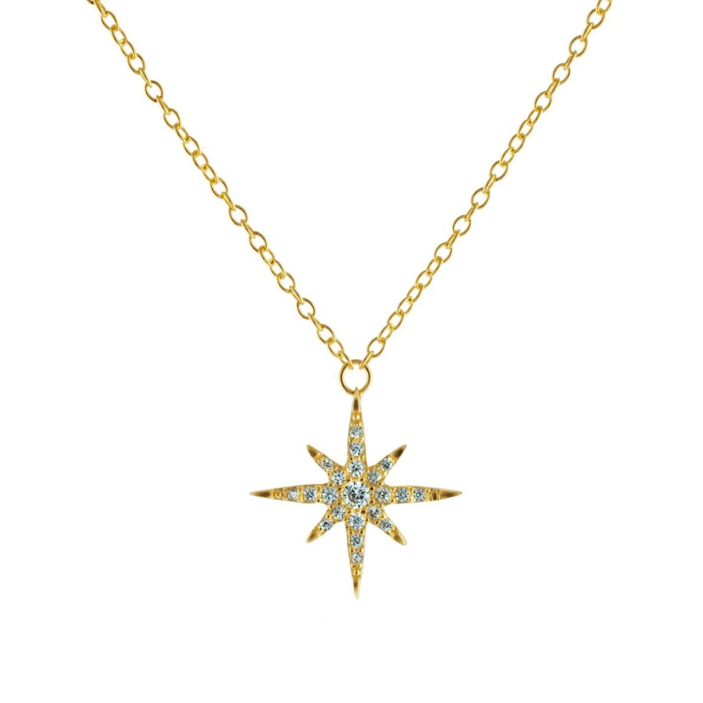 Women's Small Golden Starburst Sun Pendant Necklace
