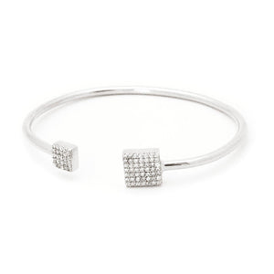 Square CZ Ends Cuff Bangle