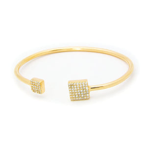 Square CZ Ends Golden Cuff Bangle