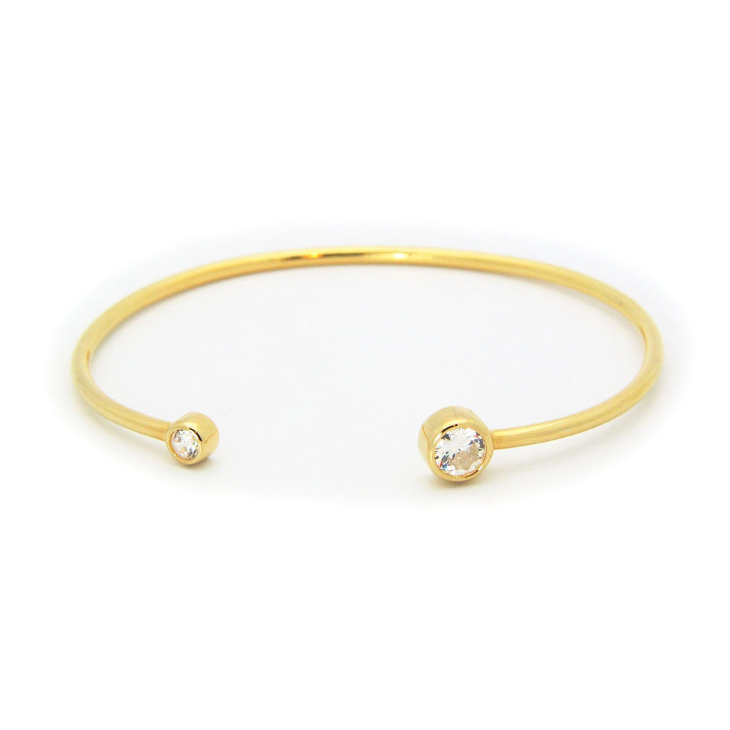 Golden Round CZ Ends Bangle