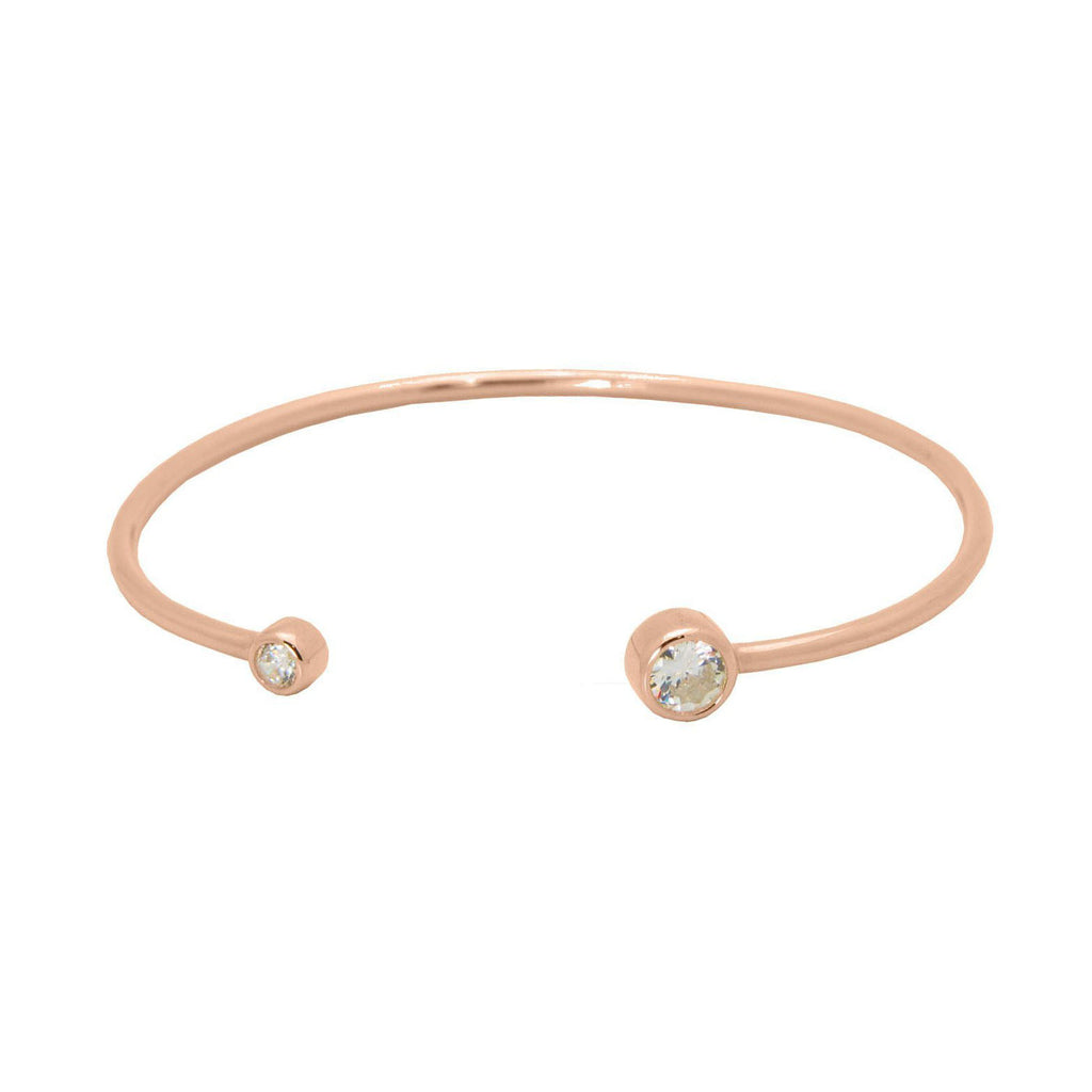 Rose Round CZ Ends Bangle