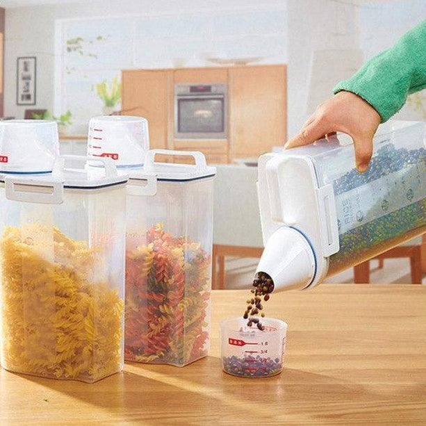Plastic Cereal/Rice Storage Container Dispenser with Measuring Cup Lid