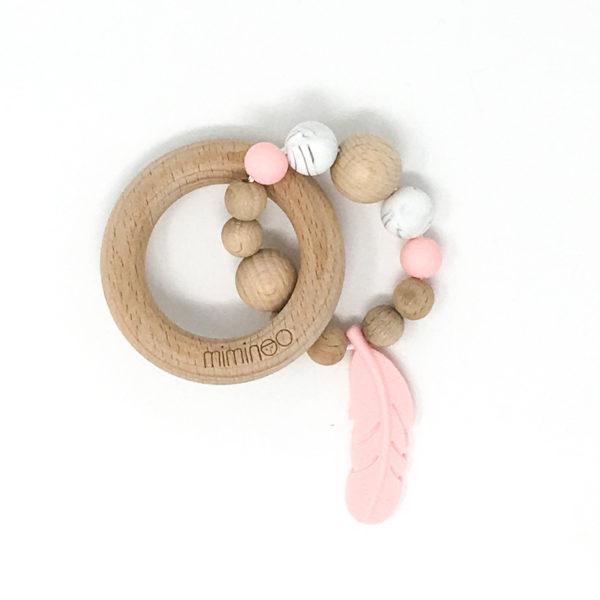 Baby's Wood & Silicone Rattle Feather - Pink