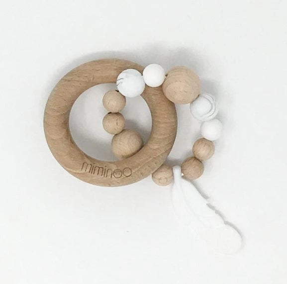 Baby's Wood & Silicone Rattle Feather - White