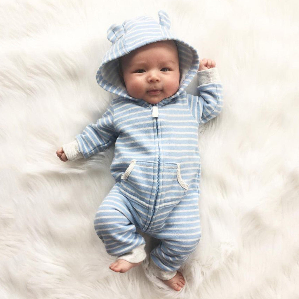 Fashion Baby Clothes Striped Hooded Rompers