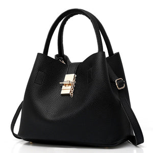 Women's Leather Handbag Tote - Black, Red, Pink