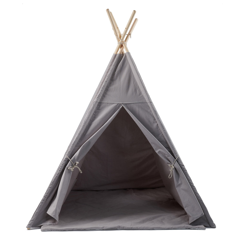 Kids' Gray Tepee Tent with Mat