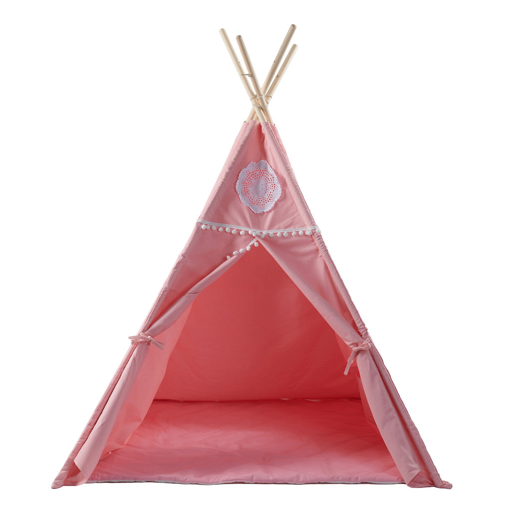 Kids' Pink Tepee Tent with Mat