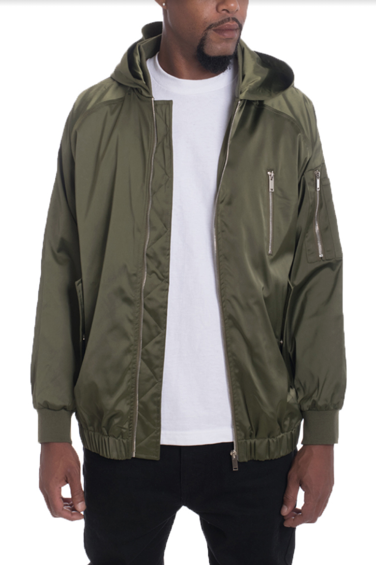 HOODIE SATIN BOMBER- OLIVE