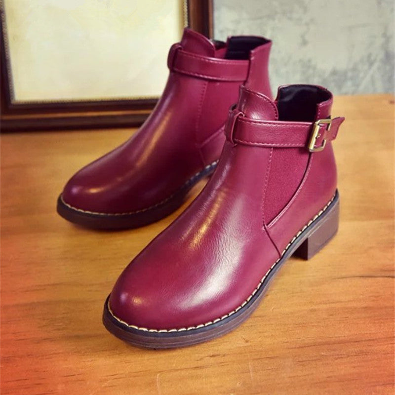 Women Ankle Boots Round Toe Buckle Strap