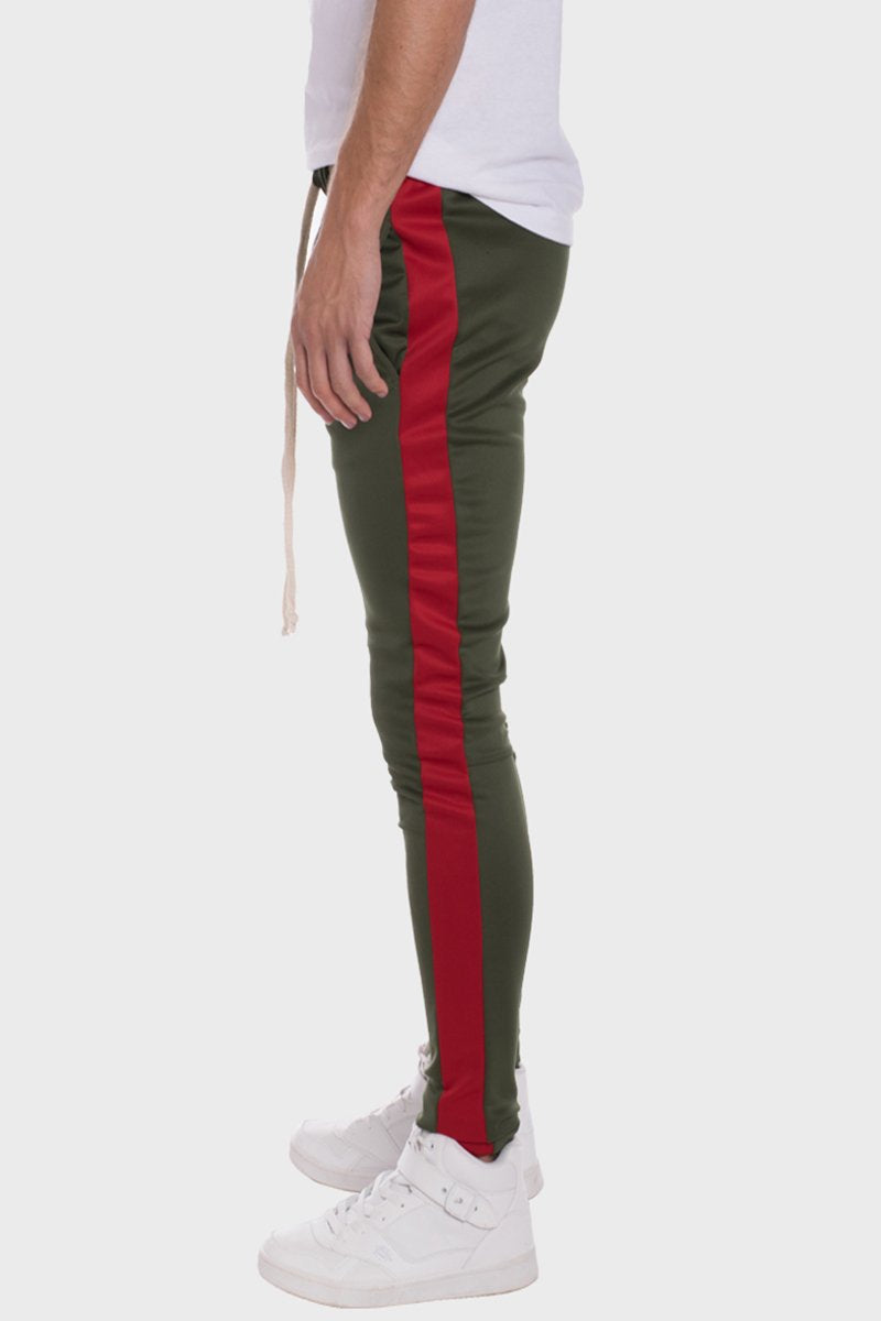 HOLIDAY TRACK PANTS- OLIVE/ RED
