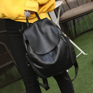 Women's PU Leather Backpack - Black