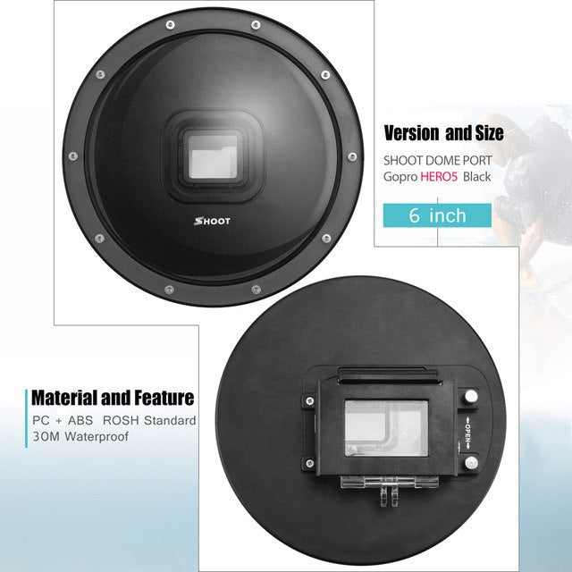 Underwater Waterproof Diving Dome Port for GoPro - Black