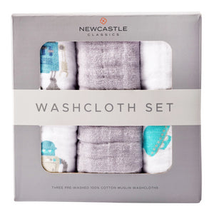 All-Natural Cotton Infant Baby Robot Bath Washcloth - Set of 3