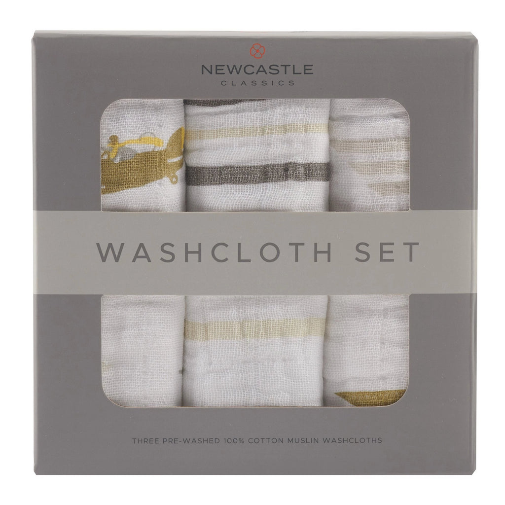 All-Natural Cotton Infant Baby Sky Bath Washcloth - Set of 3