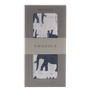 All-Natural Cotton Newborn Baby Swaddle/Blanket - Blue Elephant