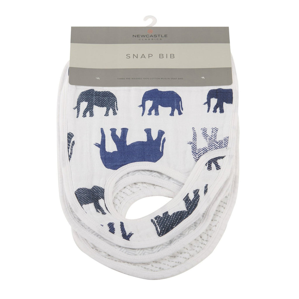 In The Wild Elephant Snap Bibs (Set of 3)