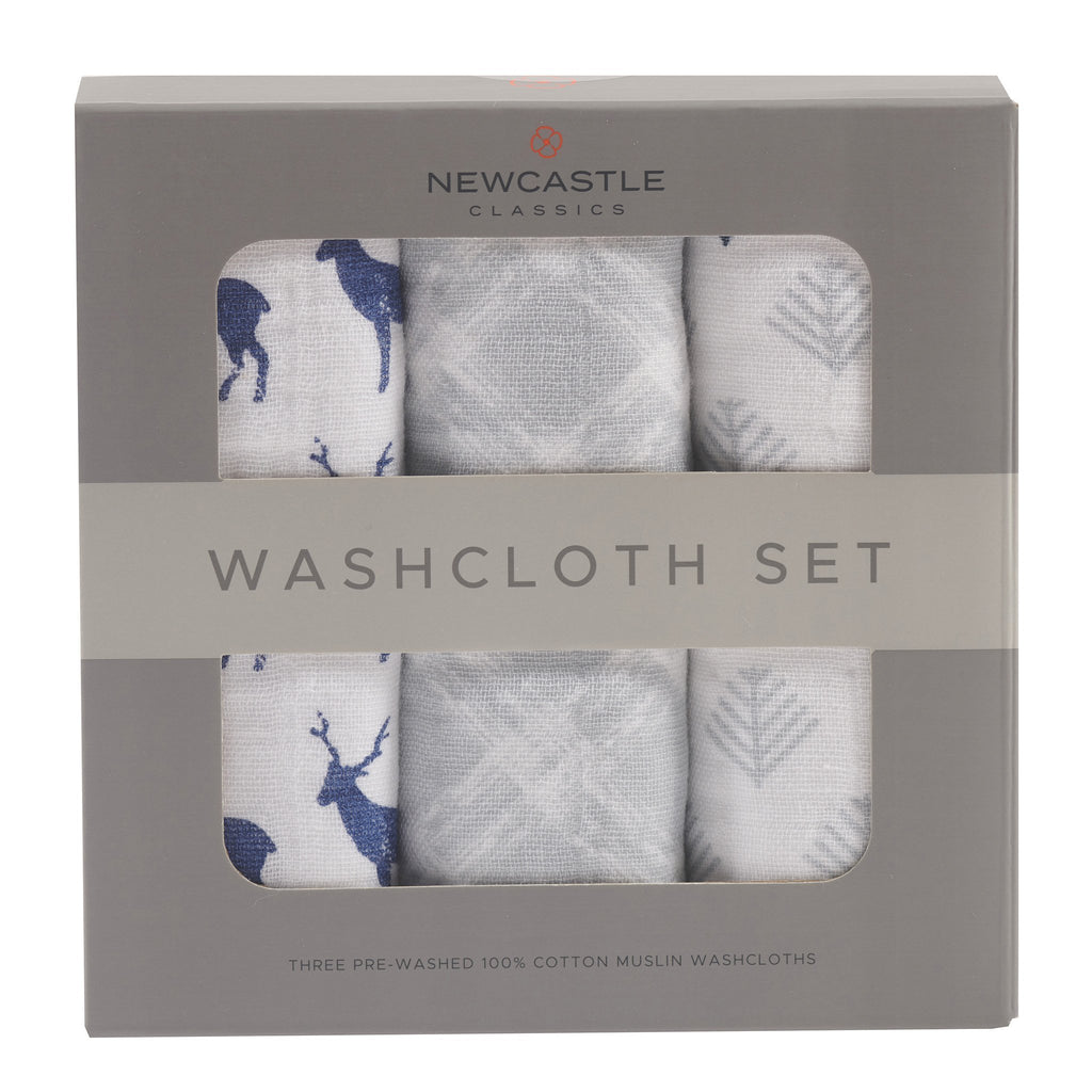 All-Natural Cotton Infant Baby Wild Deer Bath Washcloth - Set of 3