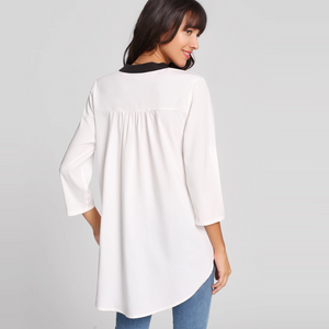 Contrast Trim Rolled Sleeve Curved Hem Blouse