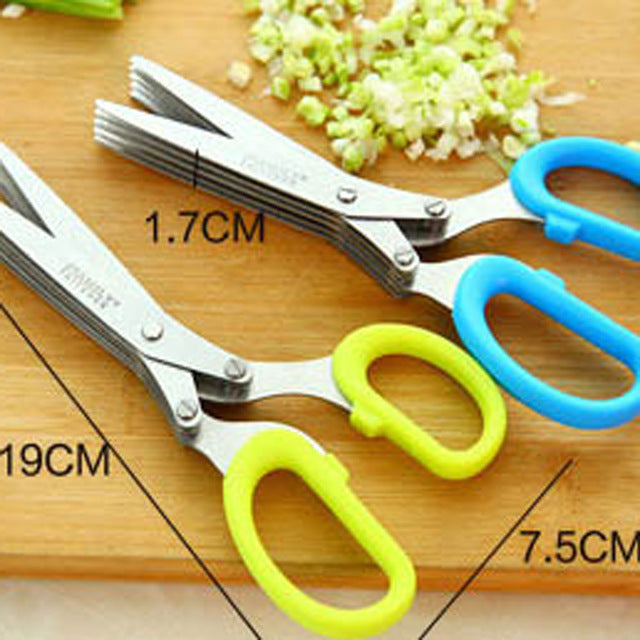 Stainless Steel 5 Blade Kitchen Scissors - Blue, Yellow