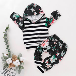 Toddler Kids Baby Boys Girls Floral Print Striped