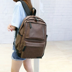 Unisex Women's & Men's Vintage Leather Laptop Rucksack Backpack - Black, Brown