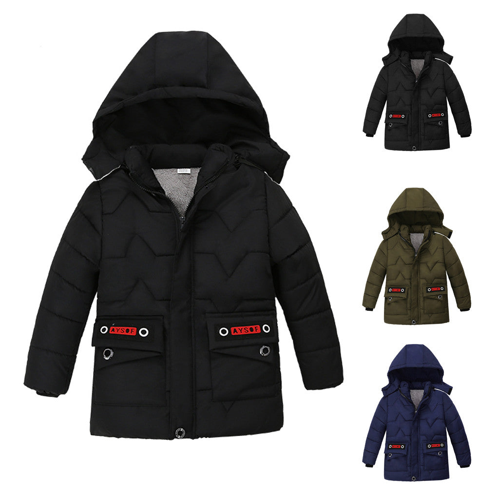 Windbreaker For Boy Solid Zipper Thick Jackets For