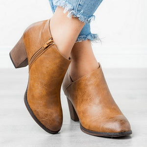 Women Fashion Pointed Toe PU Leather Short Boots