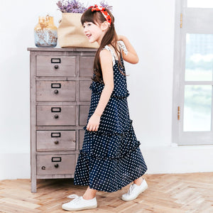 Girls' Kids' Polka-Dot Tiered Dress - Navy