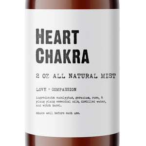 Heart Chakra - All Natural Body Mist - Made with Essential Oils