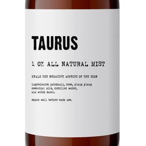 Taurus - All Natural Body Mist - Made with Essential Oils