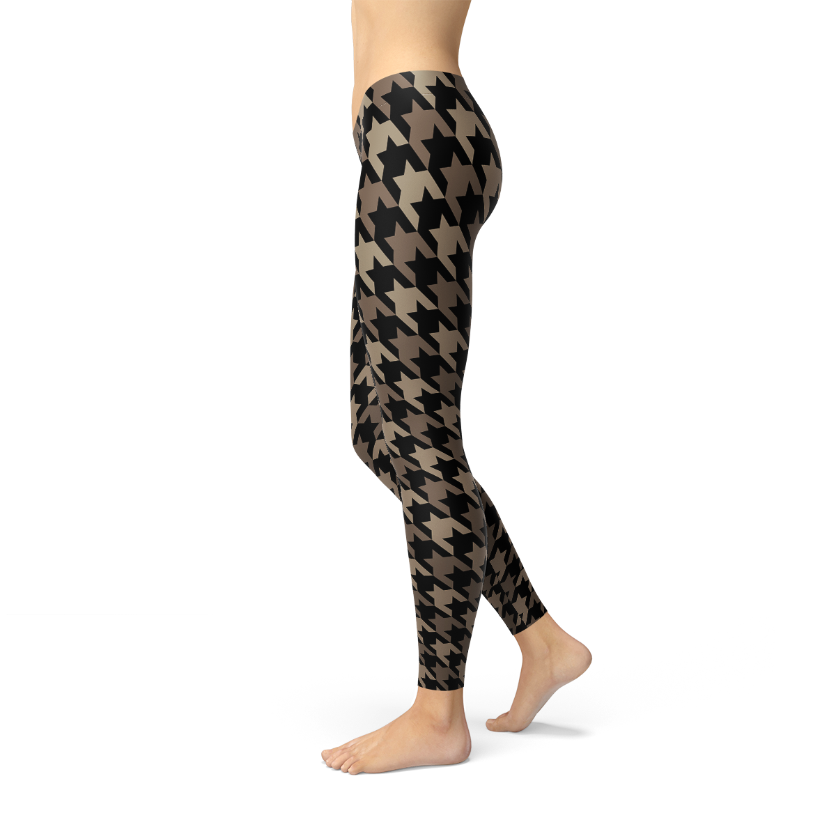 Womens Beige Brown Houndstooth Leggings