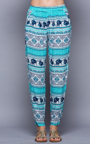 Boho Teal Elephant Pants