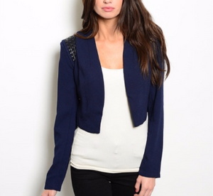 Cropped Navy Blazer with Shoulder Detail