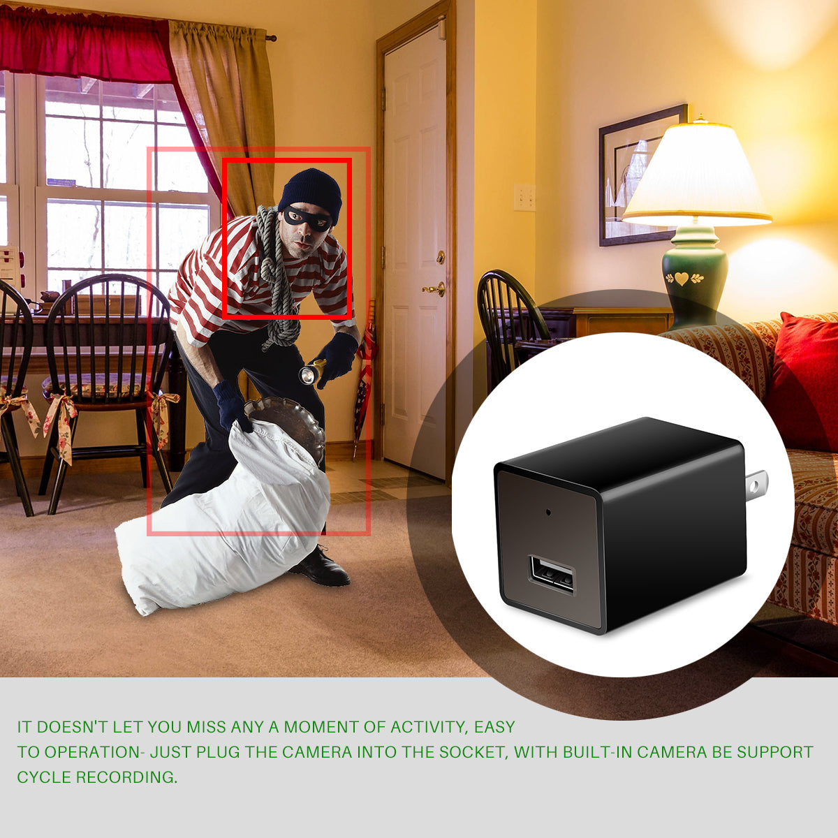 HD 1080P WIFI Camera Adapter Hidden Wall Charger