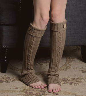 Mocha Cable Knit Cuff Button Leg Warmers
