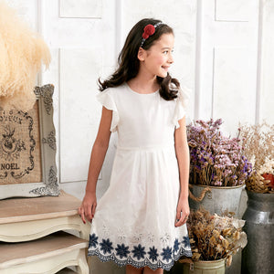 Girls' Kids' Floral Embroidered Fit & Flare Dress - White