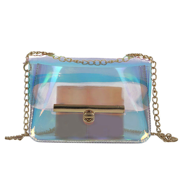 Women's Transparent Chain Purse Bag