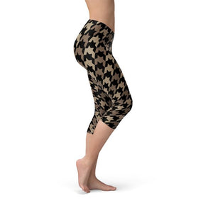 Womens Beige Brown Houndstooth Capri Leggings