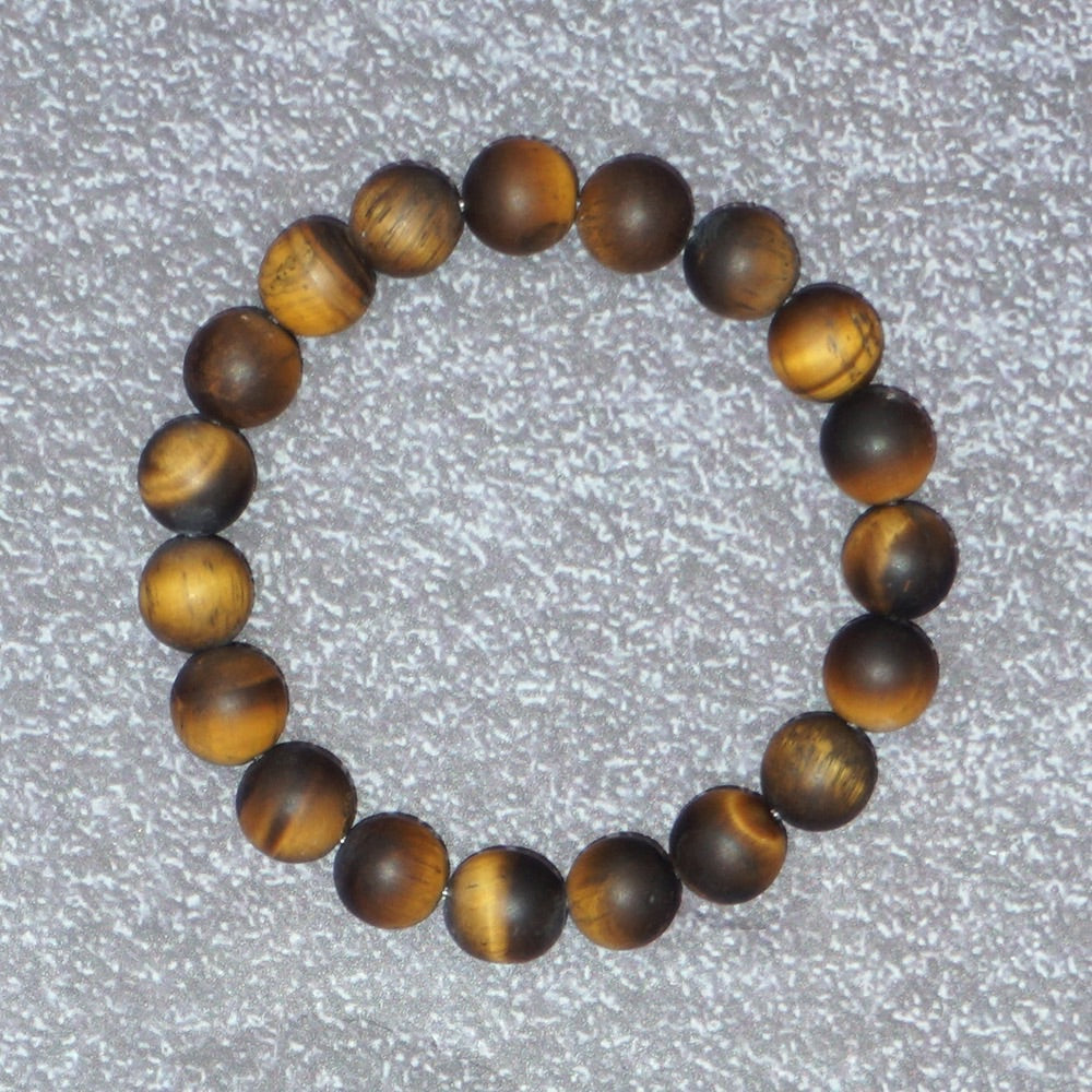 Women's Matte Tiger-eye Stones Balancing Stretch Bracelet