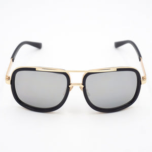 Flex Gold Trimmed Rectangular Mirror Sunglasses