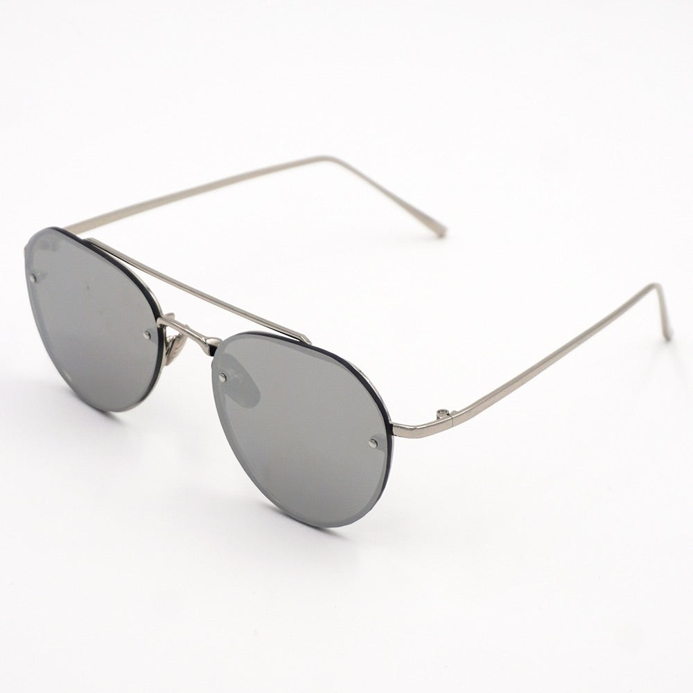 Flex Modern Round Aviator Mirror Sunglasses